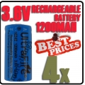 4x 123A CR123A LR123A 3.6V Li-ion UltraFire Rechargeable Battery