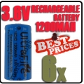 6x 123A CR123A LR123A 3.6V Li-ion UltraFire Rechargeable Battery