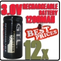 12x CR123A 123A CR123 3V 3.0V  GTL Rechargeable Battery Cell