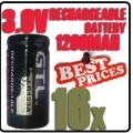 16 x CR123A 123A CR123 3V 3.0V GTL Rechargeable Battery Cell