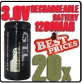 20 x CR123A 123A CR123 3V 3.0V GTL Rechargeable Battery Cell
