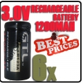 6 x CR123A 123A CR123 3V 3.0V GTL Rechargeable Battery Cell