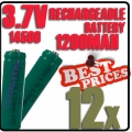 12 pcs ICR14500 3.7V Rechargeable battery Green for Flashlight