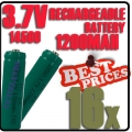 16 pcs ICR14500 3.7V Rechargeable battery Green for Flashlight