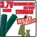 4 pcs ICR14500 3.7V Rechargeable battery Green for Flashlight