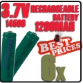 6 pcs ICR14500 3.7V Rechargeable battery Green for Flashlight