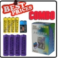 4x AA 4x AAA 1x 9v Rechargeable Battery Charger Combo