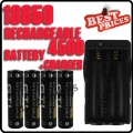 4 x 18650 3.7V GTL Black Rechargeable Battery +Charger