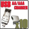 10 x USB Charger for Ni-MH AA AAA Rechargeable Battery