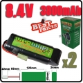 2x 8.4V NiMH Rechargeable Battery Pack For RC Airsoft + Charger