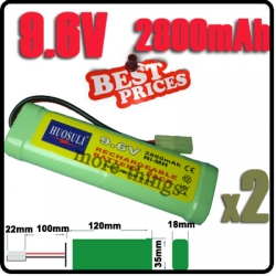 2x 9.6V NiMH Super Power Rechargeable Battery Pack For RC Tank Airsoft