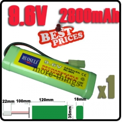 1x 9.6V NiMH Super Power Rechargeable Battery Pack For RC Tank Airsoft