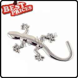 3D Gecko Car Stickers Small Automobile Label Chrome Badge Emblem Decal Silver