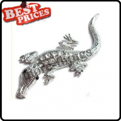 Silver 3D crocodile Car Racing Chrome Badge Emblem Sticker Gold auto Decals