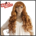 Curly Wavy Long Party Wig Halloween Costume Wig Brown Cos Wig