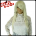 Heat Resistant Long Straight Skin Top Pure Snowy White Wig Cosplay Wigs