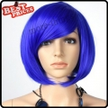 Short Straight Party Kanekalon Bobo Wig Halloween Costume wig Blue color