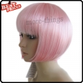 Short Straight Party Kanekalon Bobo Wig Halloween Costume wig Light Pink color