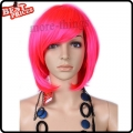Short Straight Party Kanekalon Bobo Wig Halloween Costume wig Pink color