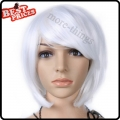 Short Straight Party Kanekalon Bobo Wig Halloween Costume wig White color