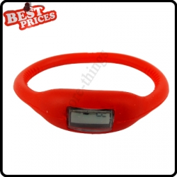 Red New Fashion Silicone Rubber Nagative Sport Wristwatch Unisex Wholesale