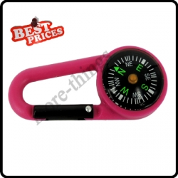 Pink 2 in 1 Mini Outdoor Camping Keychain Hook Compass Carabiner Navigation