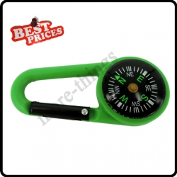 Green 2 in 1 Mini Outdoor Camping Keychain Hook Compass Carabiner Navigation