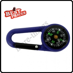 Blue 2 in 1 Mini Outdoor Camping Keychain Hook Compass Carabiner Navigation