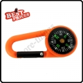 Orange  2 in 1 Mini Outdoor Camping Keychain Hook Compass Carabiner Navigation