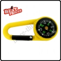 Yellow 2 in 1 Mini Outdoor Camping Keychain Hook Compass Carabiner Navigation