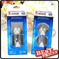 2 NEW Single Stainless Steel Round or Square Wall Hooks Decorate Self-Adhesive