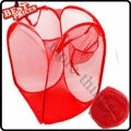 Red Convenient Mesh Collapsible Laundry Hampers Laundry Bag Basket Easy Open